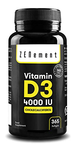 Vitamin D3 4000 IU, 365 Softgels | Vitamin D Natural (Cholecalciferol) | with Olive Oil | Full Year Supply | Bone, Muscle and Immune System | Additives Free, Gluten Free | by Zenement