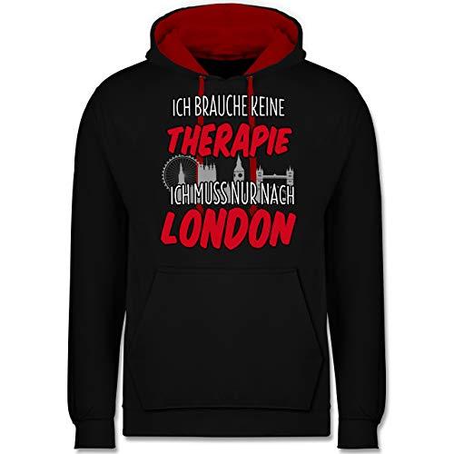Preisvergleich Produktbild Städte - Ich Brauche Keine Therapie ich muss nur nach London - L - Schwarz / Rot - JH003_Hoodie_Unisex - JH003 - Hoodie zweifarbig und Kapuzenpullover für Herren und Damen