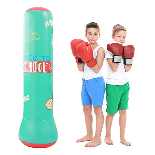 QIQU Blue Kids Punching Bag-Free Standing Boxing Bag 63inch Inflatable Punching Bag for Kids,Free Standing Boxing Toy Youth Boxing Bag (Blue)