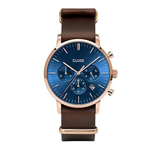 Cluse Aravis Herren-Armbanduhr 40mm Armband Leder Braun Batterie CW0101502008