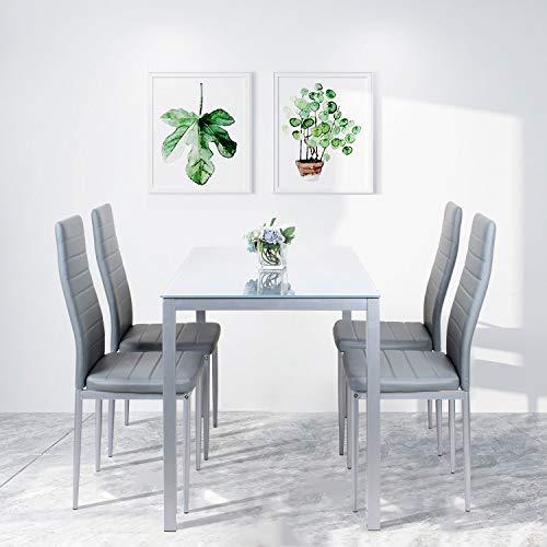 Beliwin Glas-Esstisch und 4 Stühle mit hoher Rückenlehne, grau, modernes Küchen- und Esszimmer-Set mit rechteckiger Glas-Tischplatte, Kunstleder-Stühle (grau)