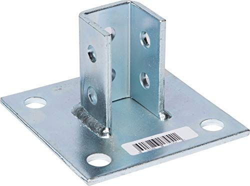 "Morris Products 17454 Post Base Channel 4 Hole Square – For 1-5/8"" Strut – Side Orientation, Galvanized Steel – 6"" x 6"" Base – Secures Strut Assembly to Floors, Surfaces"