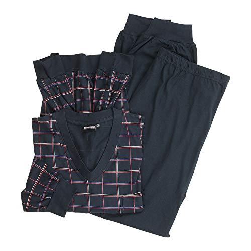 ADAMO Langer Pyjama kariert in dunkelblau Übergröße 10XL, Größe:4XL