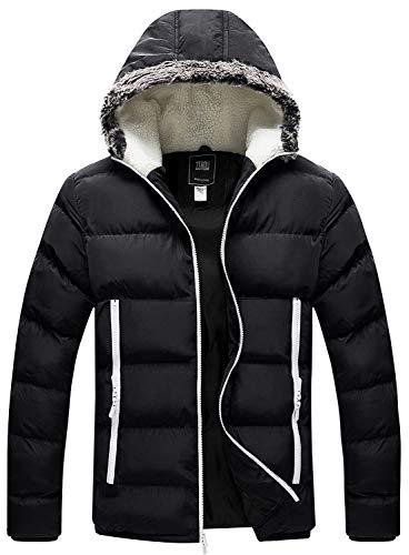 ZSHOW Men's Water Resistant Puffer Coat Fleece Lined Hooded Puffer Jacket(Black,X-Large)