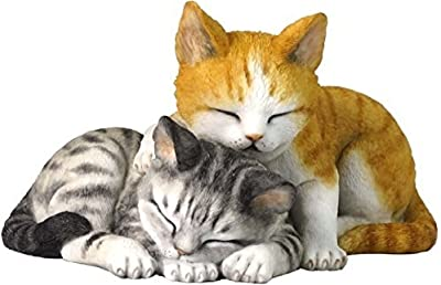 5.13 Inch Sleeping Tabby Kittens Decorative Figurine Orange and Gray