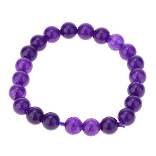 Colcolo Elegante Pulsera de Perlas de Cristal de Amatista Pulsera Tibetana Perla de Transporte - Púrpura 8 mm