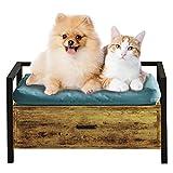 MSMASK Lit pour chien avec tiroir de rangement, lit pour animaux de compagnie canapé pour petits chats ou chiens, lit pour animaux de compagnie en bois et en métal pour intérieur extérieur (S, Marron)