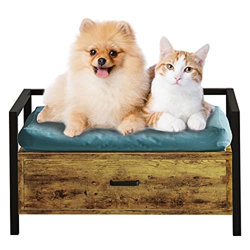 MSmask Hundebett mit Schublade, Hundesofa/Hundecouch Fahmen, Erhöhtes Haustierbett, Plattform Bettrahmen für Klein, Mittelgroße, Grosse Hunde, Maximale Tragfähigkeit 70 kg (S, Retro Brown)