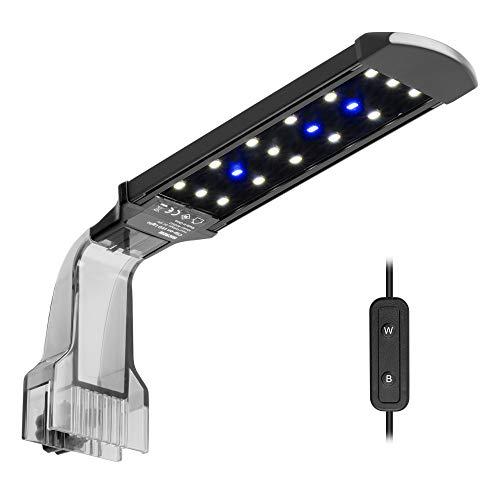 NICREW Luz LED Acuario, LED Acuario de Pinza con Luz Azul y Blanco, 18 Leds Lámparas para Acuario, LED Acuario 8W
