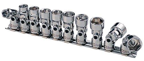 "KS Tools 911.3840 3/8"" CHROMEplus Sechskant-Stecknuss-Satz mit Gelenk, 10-tlg.10-19mm"