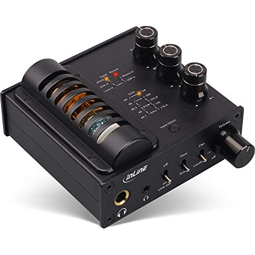InLine 99207I AmpUSB-EQ, Hi-Res AUDIO HiFi DSD Kopfhörer-Röhrenverstärker+ Equalizer, USB DAC