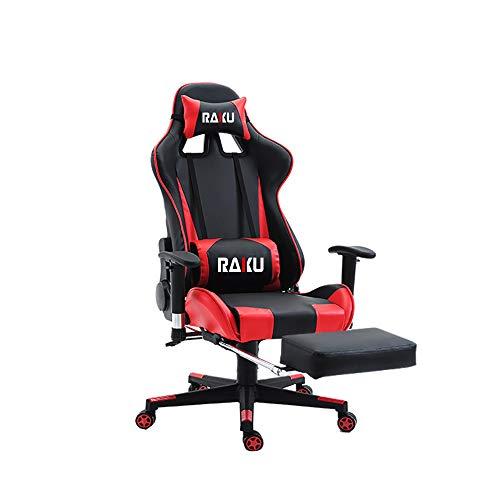 RAKU ゲーミングチェア オットマン 耐荷重200kg アーロンチェア puレザー 椅子 ロッキング 180°リクライニング ヘッドレスト 可動式アームレスト 腰クション 通気性抜群 ひじ掛け付き ゲームチェア リクライニング gaming chair 3色可選択 日本語説明書付き(レッド(タイプ1))
