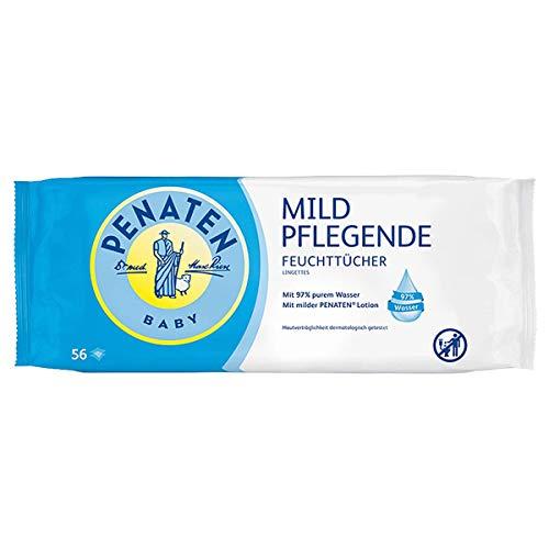 Penaten Mild Pflegende Feuchttücher, extra weiche Tücher für Babys mit 97% purem Wasser, angenehmen Duft und Seidenextrakt (18 x 56 Stück)