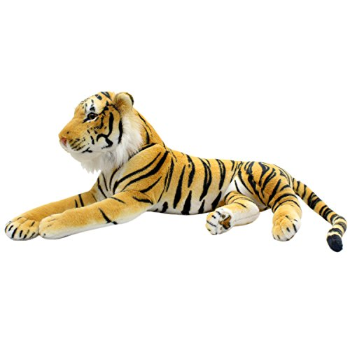 TAGLN Large Stuffed Animals Tiger Toys Plush Big (Brown Side Lying, 27 Inch)