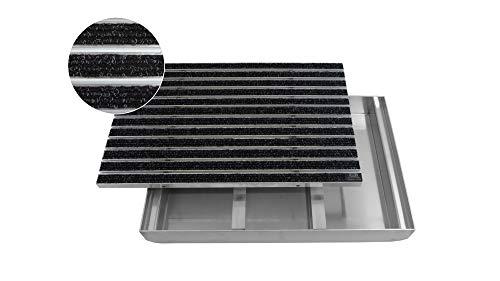 EMCO Eingangsmatte DIPLOMAT Rips anthrazit + ALU Bodenwanne Fußmatte Schuhabstreifer, Größe:750 x 500 mm