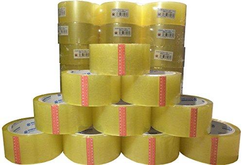 Lot de 36 rouleaux de ruban adhésif d'emballage, solide et long, transparent, 48 mm x 66 m