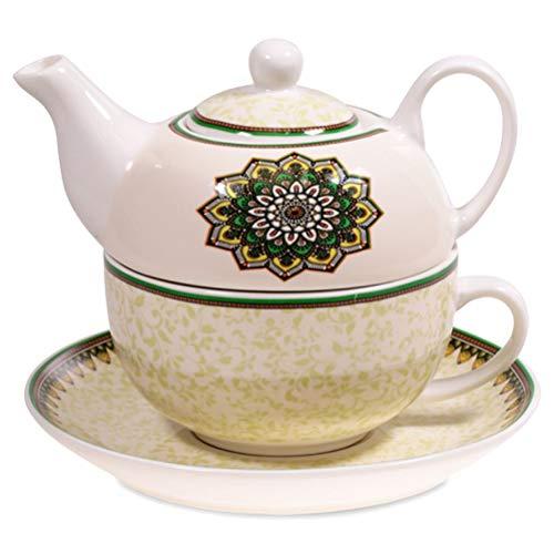 Théière solo en porcelaine Mandala Vert