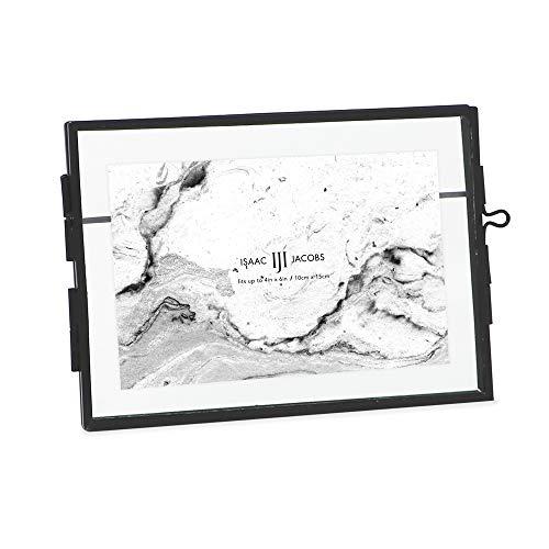 Isaac Jacobs 6 x 4, negro estilo moderno latón y vidrio, vidrio prensado, metal flotante marco de fotos (horizontal), con cierre de...