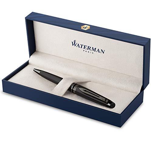Waterman Expert Kugelschreiber | Schwarze Metallic-Lackierung mit Ruthenium-Zierteilen | Mittlere Spitze | Blaue Tinte | In Geschenkbox