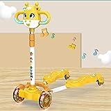 CYGJ Aleación de Aluminio Patinetes de Trucos con 4 luz LED Intermitente Ruedas de PU,Amarillo Patrón de Dibujos Animados Plegable Patinete Speeder Scooter para Niños de 3 a 8 Años