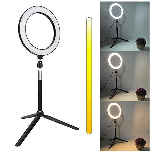LED-ringlicht, dimbare LED-video-ringlamp met Bluetooth-afstandsbediening/statief Clip voor mobiele telefoon/USB-poort, cameralampset Live streaming, fotografie verlichting