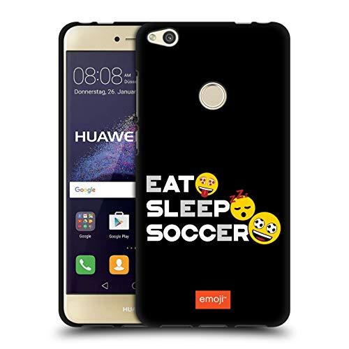 Head Case Designs Licenciado Oficialmente Emoji Lema Fútbol Funda de Gel Negro Compatible con Huawei P8 Lite (2017)