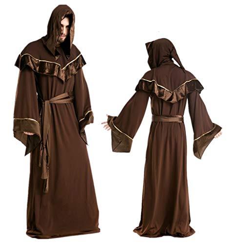0-0 Heren Volwassen Gandalf Wizard Grim Reaper Bruin Hooded Grote Maat Robe Halloween Kostuum Fancy Dress Party Thema Partijen