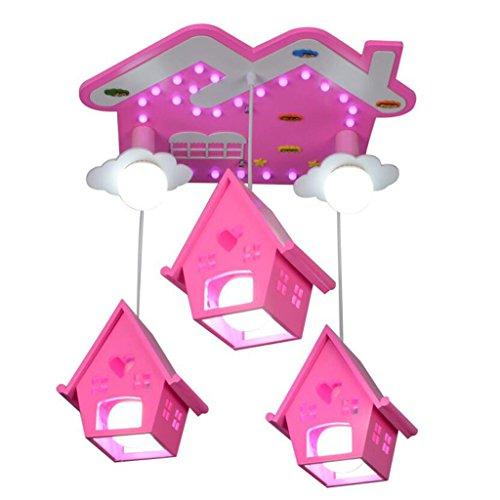 Lumières de chambre des enfants minimaliste moderne lumières Creative Boys Girls Blue House maternelle Sucer Cartoon lumières L50 * W50 * H60cm, hauteur réglable (Couleur : Pink)