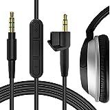 Geekria QuickFit Cable con micrófono compatible con Bose Around-Ear AE2, AE2i, AE2W, cable estéreo de repuesto AUX de 2,5 mm con micrófono en línea y control de volumen (negro 6 pies)