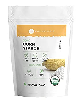 Organic Corn Starch - Kate Naturals Vegan & Gluten-Free Plant-Based Powder for Cooking & Baking Natural Thickening Agent for Soups Gravies Custards & More Resealable Bag 12oz