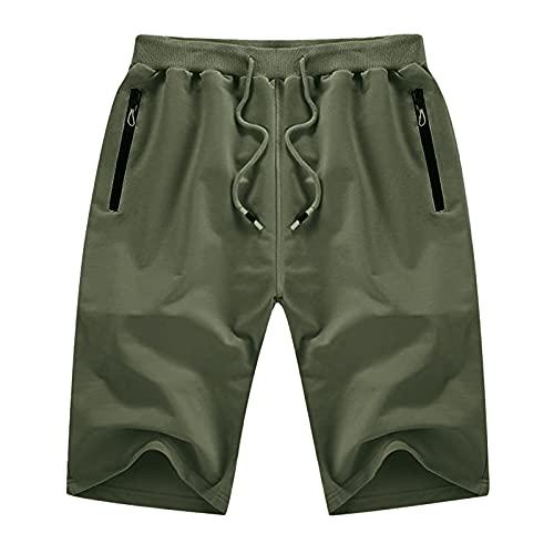 Pistaz Mono básico de lana para hombre, con cremallera y bolsillos, para el tiempo libre, para el tiempo libre, bermudas de verano, verde, 40W