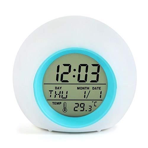 RUIHUAN Despertador Alarma LED 7Colors Cambio Noche Resplandeciente Digital Reloj del Reloj Sonidos Naturales Mesa de Nixie práctico (Color : 7 Colors Change)
