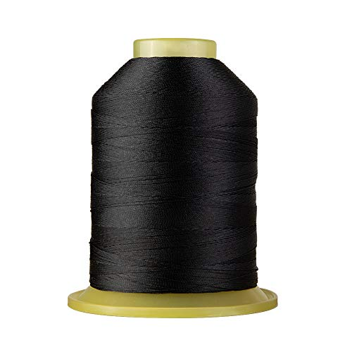 Bonded Polyester Sewing Thread 1695 Yard High Strength Sewing Thread 210D/3 for Sewing Awnings, Tents Industrial, Home Textile, Leather Goods, Footwear, Luggage, Shoes, Car Mats, Upholstery Black