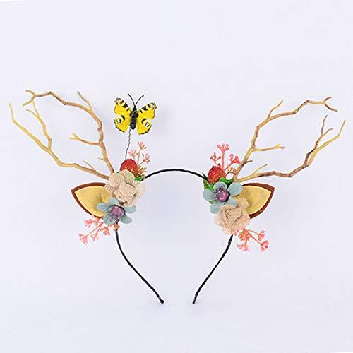 Adjustable Flower Headband Halloween Floral Garland Crown Halo Headpiece Boho with Christmas Ribbon Wedding Festival Party