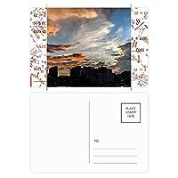 夕暮れの雲市のオレンジ色の空 公式ポストカードセットサンクスカード郵送側20個