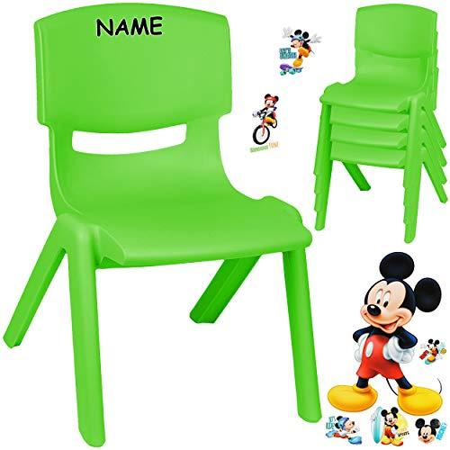 alles-meine.de GmbH Kinderstuhl / Stuhl - Motivwahl - grün + Sticker - Disney Mickey Mouse - inkl. Name - Plastik - bis 100 kg belastbar / kippsicher - für INNEN & AUßEN - 0 - 99..