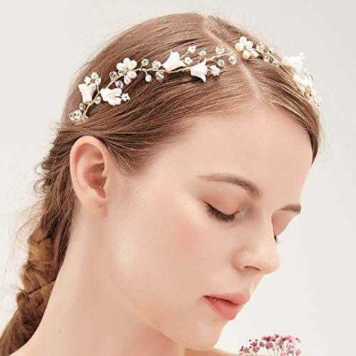 IYOU Cerchietto per capelli da sposa con cristalli con fiore in argento con strass scintillanti accessorio per capelli per donne e ragazze (argento)