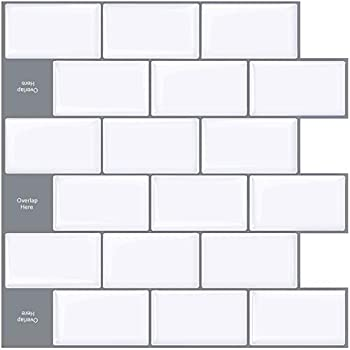 Upgraded STICKGOO 10-Sheet Peel and Stick Subway Tile Backsplash 13 x12  Self-Adhesive Kitchen Backsplash Tiles White