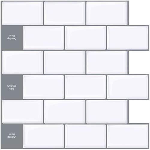 STICKGOO 10 hojas para azulejos de subterráneo, 13 x 12 pulgadas, pegatinas de pared de cocina, color blanco