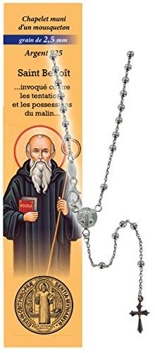 Rosario San Benito de plata 925 con cuentas de Ø 2,5 mm y oración en francés
