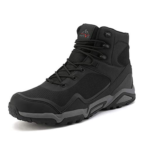 NORTIV 8 men's hiking boots outdoor mid-term hiking hiking boots waterproof hiking shoes JS19005M-BLACK-SZ-09.5