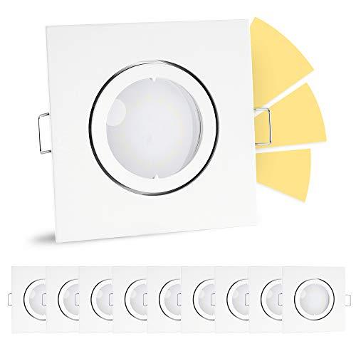 10 Stück linovum® fourSTEP Einbaulampe LED schwenkbar dimmen ohne Dimmer - LED GU10 5W warmweiß - weißes Downlight quadratisch