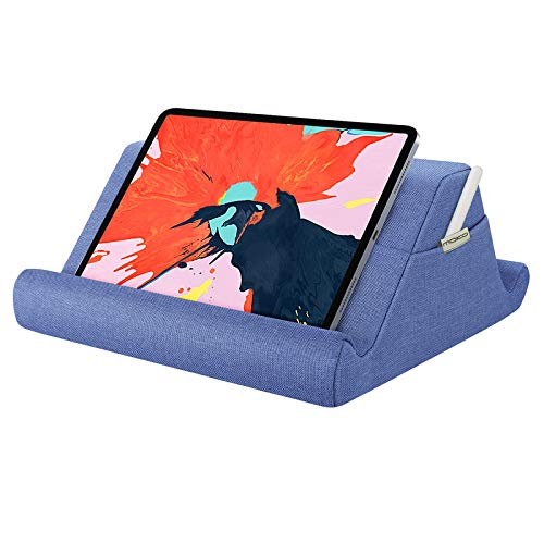 MoKo Tablet Pillow Holder, Pillow Pad Multi-Angle Soft Tablet Stand Up to 12.9', Lap Pillow for eReader, Book, Fit iPad 10.2 2020, Air 4 10.9, Air 3, iPad Pro 11/12.9,Galaxy Tab S6 /S7 - Denim Blue