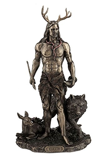 11.75' Herne the Hunter w/ Deer & Wolf Figurine Figure Statue Celtic Cernunnos