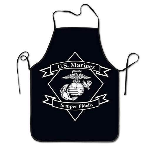 Hssa Unisex Kitchen Aprons Semper Fi US Marine Corps Chef Apron Cooking Apron Barbecue Aprons