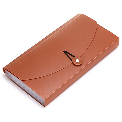 BTSKY Expanding File Folder –New 13 Pockets Small Accordion File Folder Expandable Card Ticket Holder File Storage Folder Check Bill File Folder Plastic Business Document Organizer Wallet Case(Brown)