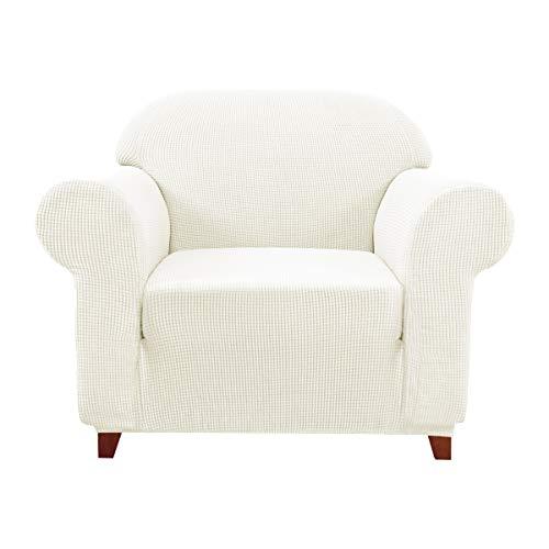 subrtex Spandex Sofabezug Stretch Couchbezug Sesselbezug Elastischer Antirutsch Sofahusse (1 Sitzer, Creme-1)