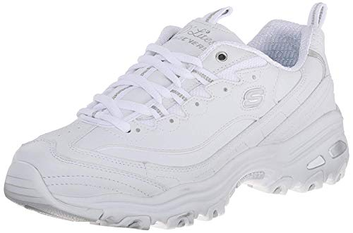 Skechers Women's D'Lites Memory Foam Lace-up Sneaker,White Silver,11 M US