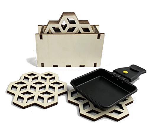 CUT Raclette Untersetzer für Pfännchen - 8 Set + Box, geometrisch