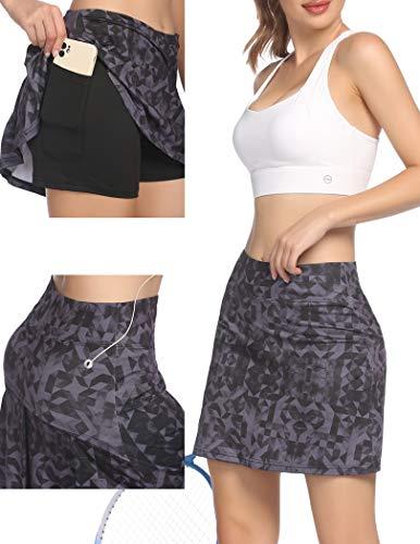 Damen Rock Kurz Tennisrock Yoga Skort mit Innenhose Taschen Sportrock für Frauen Mädchen Golf Sport Schwarz XL